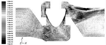 矢量图 面的/图6 阀轴对称面的速度矢量图